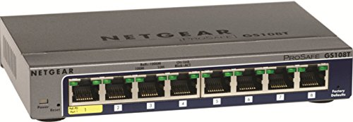 NETGEAR GS108T-200NAS 8-Port Gigabit Smart Managed Pro Switch, PoE/PoE+, L2, ProSAFE Lifetime Protection (GS108Tv2)