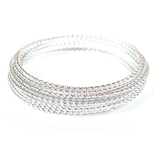 Surface Beading (Creacraft Beading Style Wire - Aluminium Wire with Structured Surface (Braided, Silver))