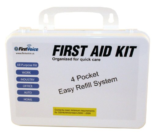 First Voice ANSI-25 25 Person Workplace Wall Mountable ANSI Compliant Plastic First Aid Kit (National Council For Science And The Environment)