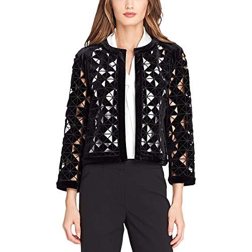 (Tahari ASL Womens Velvet Lace Velvet Jacket Black 12)