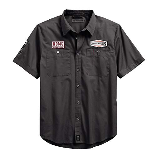 Harley-Davidson Official Men's #1 Skull Patch Slim Fit Shirt, Grey (Harley Davidson Designs)