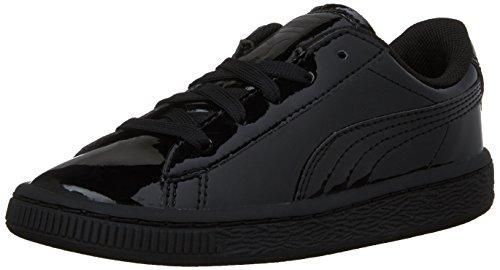 PUMA Boys' Basket Classic Patent Inf Sneaker, Puma Black/Puma Black, 8 M US Toddler