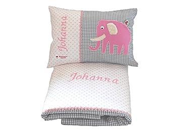 Baby Set 2 tlg. mit Decke und Namenskissen mit Elefant von Glückspilz