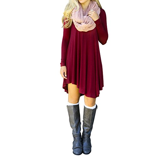 Sun Lorence Women Casual Solid Long Sleeve Loose Tshirt Dress Red - Warehouse Live Address