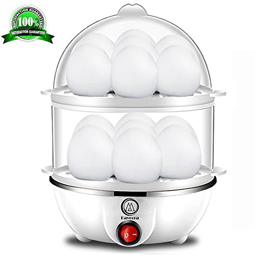 Electric Egg Cooker, Big Capacity Rapid Egg Cooker, Double Layer Fast Egg Cooker with Automatic Shut Off Feature