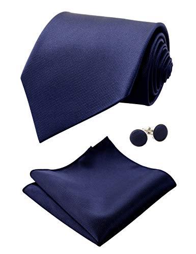 Alizeal Mens Solid Color Tie, Handkerchief and Cufflinks Set (Dark Navy)