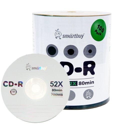 Smart Buy Logo CD-R 100 Pack 700mb 52x Blank Data Recordable Discs, 100 Disc, 100pk