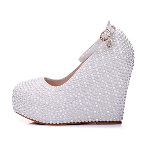 Wedding High White Womens 10cm Evening Platform Heel Beading Wedge Minishion Pearl Shoes Hidden Heel BwxPSdnW8