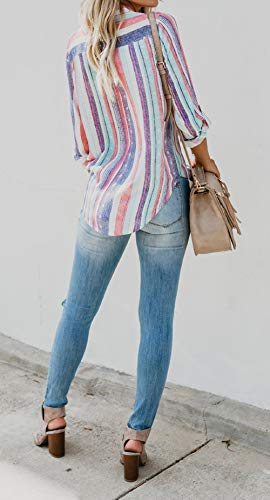 Casual Lunga E Primavera Patchwork Moda Maglietta Blouse Maglie Cime Donne Righe Tops Bluse Shirts Risvolto Autunno A Camicie Manica dRPxna5qn