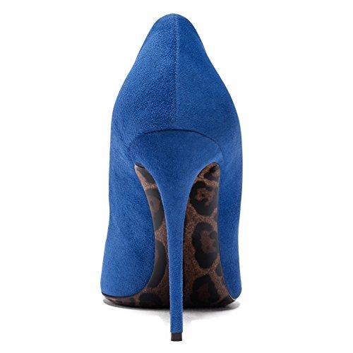 Damenschuhe Pumps Spitze Zehen Stiletto High Heel Leopard Sohle Rutsch Dress Party Hochzeit Blau