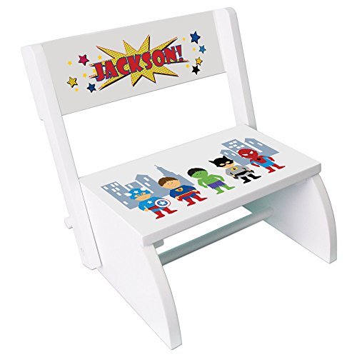 Personalized Boys Super Hero Childrens and Toddlers White folding stool