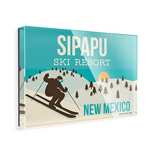 Acrylic Fridge Magnet Sipapu Ski Resort - New Mexico Ski Resort NEONBLOND
