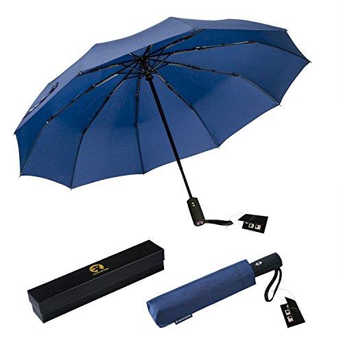 (ROTERDON Compact Travel Umbrella - Windproof Automatic Umbrellas with Teflon Coating(Blue))