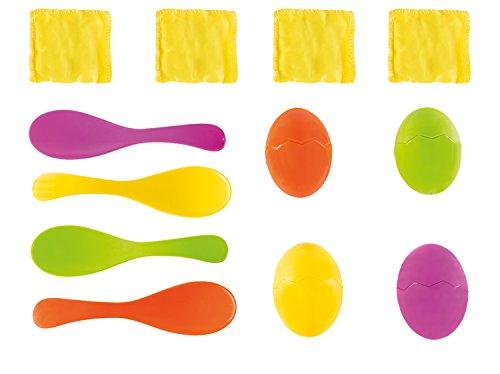Idena 40074 - Eierlaufspiel mit Eigelb, Sandsäcken, bunt