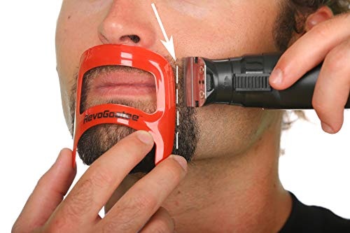 RevoGoatee Goatee Shaving Template - Shaping & Edge-up Tool for Goatee Trimming, Lineup - Grooming Kit for Men - One Size Fits All - Self Cut Guide - Use w/Beard Trimmer or Clipper - Barber Supplies