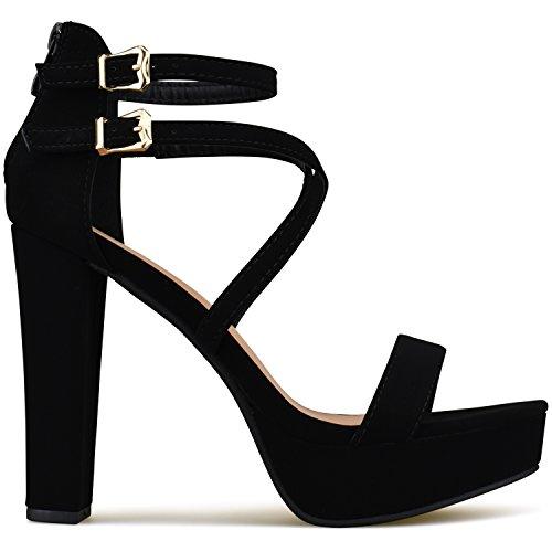 b9df7641fe0 Premier Standard Women s Laser Cut Out Ankle Strap High Heel - Open Toe  Sandal Pump -