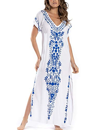(Bsubseach Short Sleeve Beach Long Dress Swimsuit Cover Up Women Swimwear Kaftan Caftan)