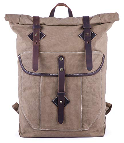Price comparison product image Gootium Roll-top Backpack - Canvas Outdoor Travel Rucksack,  Coffee