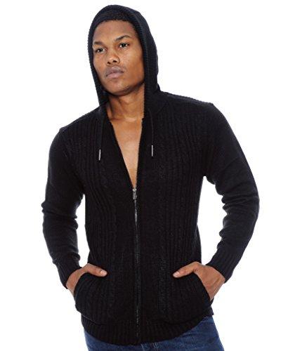 Angelo Litrico Mens Cableknit Hoodie Sweater Jacket | Black XLarge