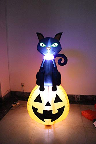 ProductWorks 84014 5-Foot Town Spooky Black Cat on Jack O'Lantern Yard Art Inflatable Halloween Display, Cast]()