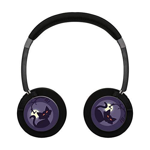 (Wireless Bluetooth Headphones Black Cat Halloween Poster Headset Earbuds Earphone for Noise-canceling Workout)