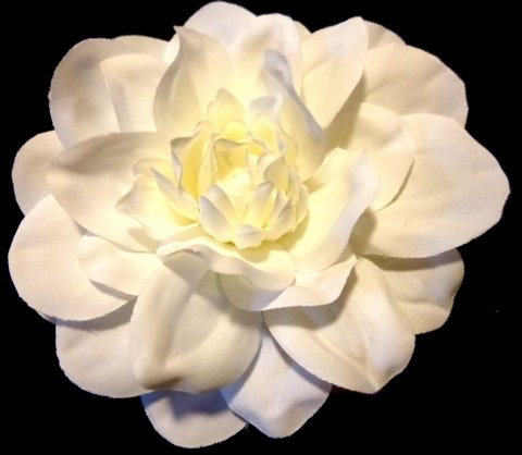 1940s Hairstyles- History of Women's Hairstyles Bright White Dahlia Flower Hair Clip $12.00 AT vintagedancer.com