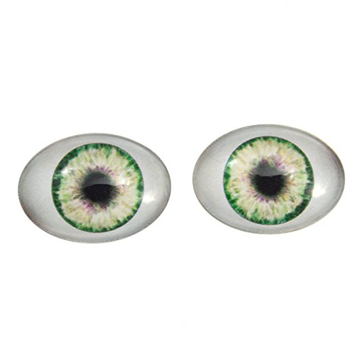 Oval Eyes Glass (Green Doll Oval Glass Eyes Fantasy Taxidermy Art Doll Making or Jewelry Crafts Set of 2 (18mm x 25mm))