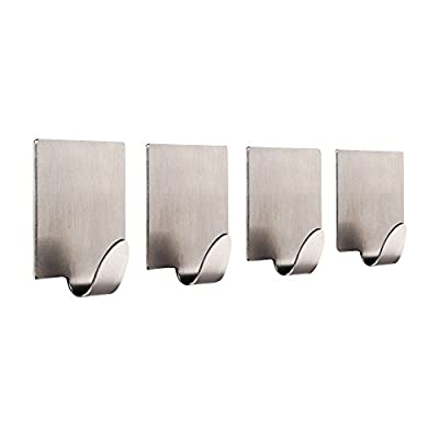 Kaimao Self Adhesive Towel Hooks Stainless Steel for Bathroom and Kitchen, Set of 4