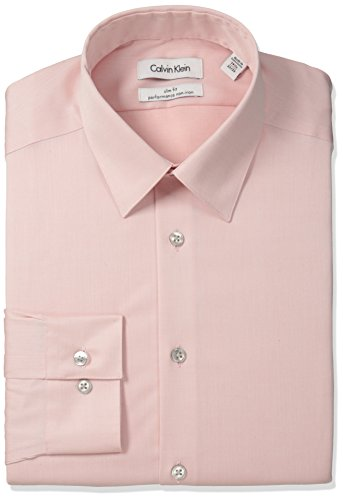 Calvin Klein Men's Dress Shirt Slim Fit Non Iron Herringbone, Coral Reef, 15.5