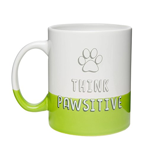 Amici Pet 7CW023R Think Pawsitive Ceramic Coffee Mug Green Bottom Dipped Finish, Block Lettering with Paw Design, Microwave and Dishwasher Safe, 30 oz. ()