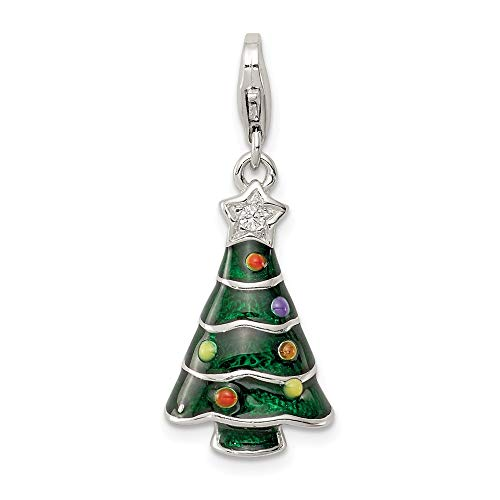 Solid 925 Sterling Silver CZ Cubic Zirconia & Enameled Christmas Tree Pendant Charm (12mm x 32mm)