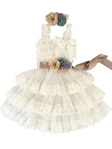 gold and cream flower girl dresses - 2