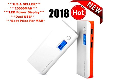 20000mAh Power Bank Dual USB Port External Battery Pack with LED Flashlight for iPhone 7, iPad Pro, Galaxy S8 and More - WHITE AND ORANGE