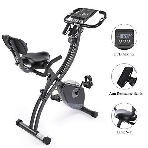 Exercise Bike Stationary Foldable Magnetic UprightRecumbent Portable Fitness Cycle with Arm Resistance Bands Extra-Large Adjustable Seat Pulse 3-in-1 Cycling Indoor Trainer for Home