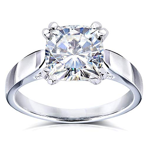 Cushion-cut Moissanite Solitaire Ring 2 Carat (ctw) in 14k White Gold from Kobelli