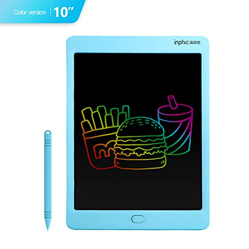 INPHIC LCD Writing Tablet 10 Inch Great Doodle Board with Stylus Smart Electronic Notepad Colorful Screen for Drawing Noting Scribbling Blue