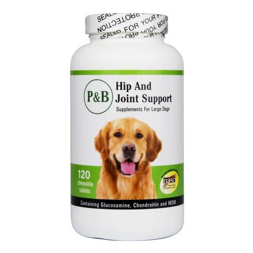Hip and Joint Support for Large Dogs w/ Glucosamine, Chondrotin, MSM and Vitamin C by PandB(120 Chewable Tablets), My Pet Supplies