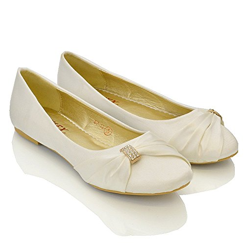 Womens Bridal Wedding Satin Pumps Ladies Slip On Prom Bridesmaid Pumps Shoes Size 3 4 5 6 7 8 9 Ivory Satin dSMGkfN2Sf