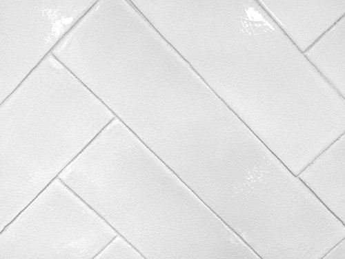 3x12 Handmade in Spain Glossy Finish White Crackled Ceramic Tile Kitchen Bath
