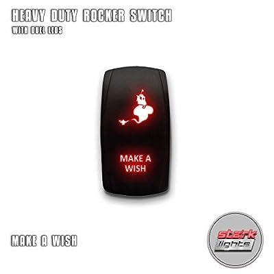 MAKE A WISH - Red - STARK 5-PIN Laser Etched LED Rocker Switch Dual Light - 20A 12V ON/OFF: Automotive