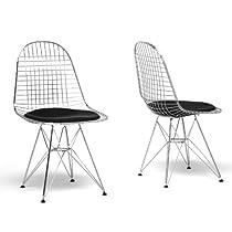 Baxton Studio Avery Mid-Century Modern Wire Chair with Black Cushion