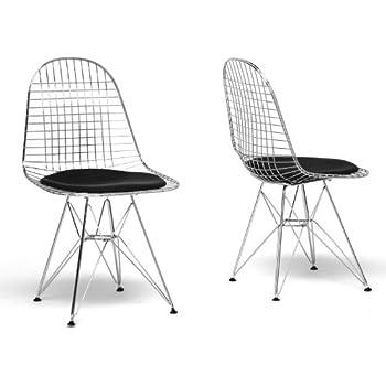 Baxton Studio Avery Mid Century Modern Wire Chair With Black Cushion