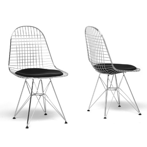 Baxton Studio Avery Mid-Century Modern Wire Chair with Black Cushion (Chair Century Mid Wire)