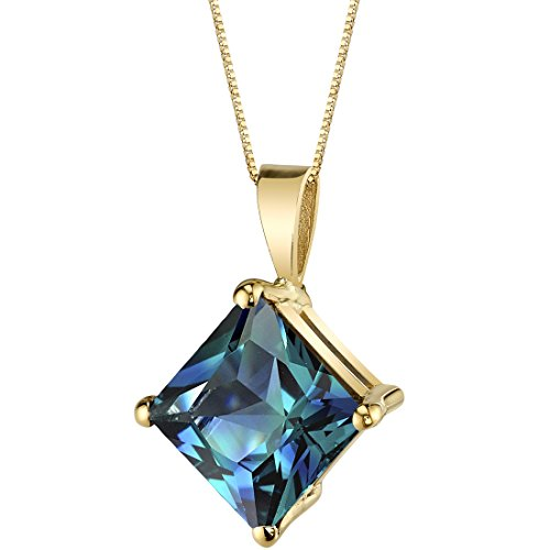 14 Karat Yellow Gold Princess Cut 3.00 Carats Created Alexandrite Pendant
