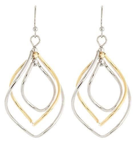 Two-Tone Triple Twist Teardrop Dangle Earrings ()