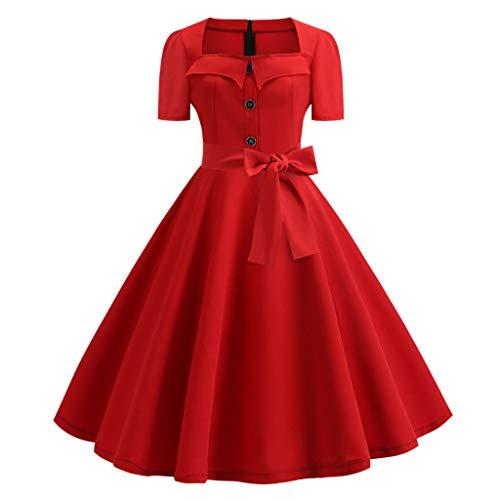 (Caopixx Dress for Women's Elegant Classy V-Neck Audrey Hepburn 1950s Vintage Rockabilly Swing)