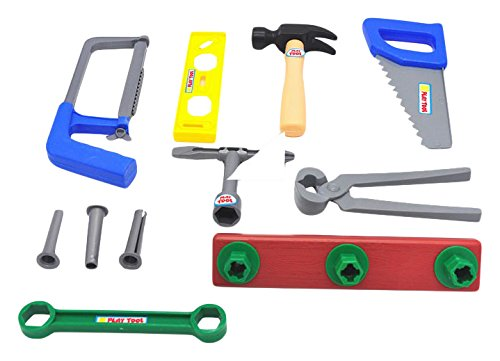 Little Treasures workmans Carry Along Tool Box Full of Assorted Tools for Kids Pretend Play with 14 Piece Deluxe Tool Series Pretend and Play playset
