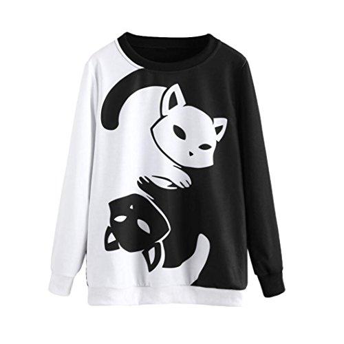 IEason Women Top, Womens Ladies Cat Printing Long Sleeve Sweatshirt Pullover Tops Blouse (L, (Black White Hoodie)