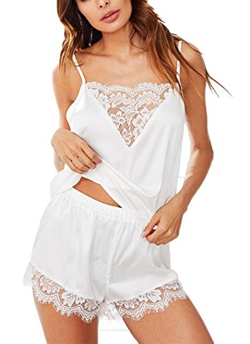 Women Langire Sleepwear Lace Camisole Shorts Set Satin Pajama (Bridal Camisole)
