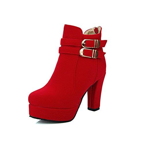 BalaMasa Womens No-Closure Boots Platform Urethane Boots Red rsjIO7P